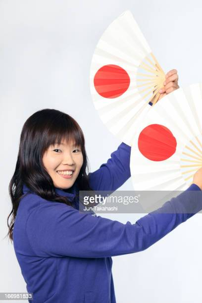 Japanese woman front of white back ground