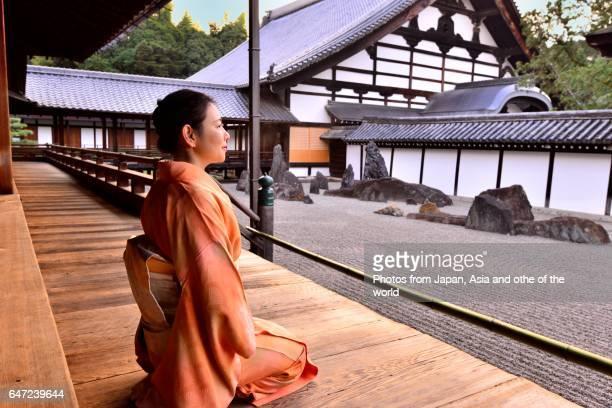 Japanese Woman in Kimono at Tofuku-ji Temple, Kyoto