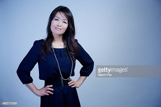 Japanese woman in navy blue