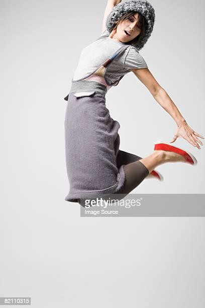 Japanese woman jumping