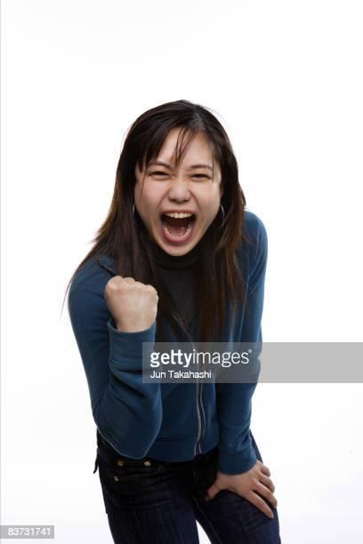 Japanese woman looking at camera