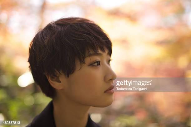 Japanese woman looking at future