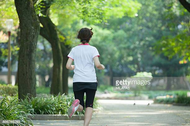 Japanese woman running