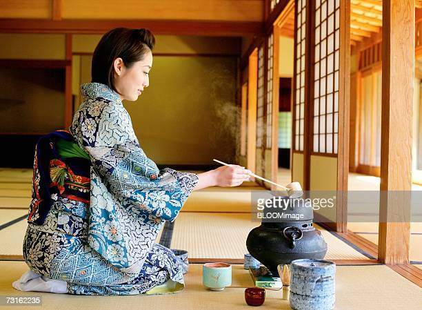 Japanese woman sitting in tea room