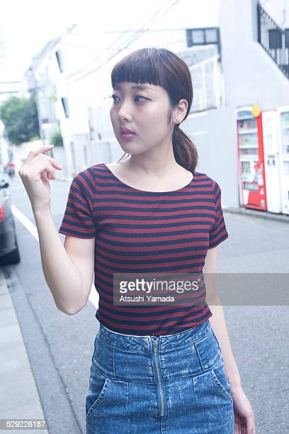 Japanese woman walking on street