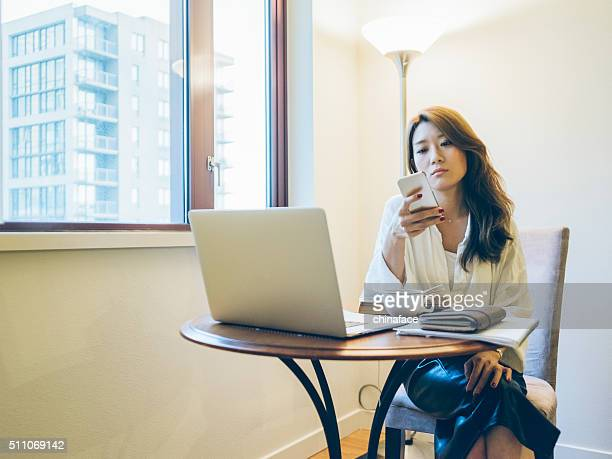 Japanese woman working at home