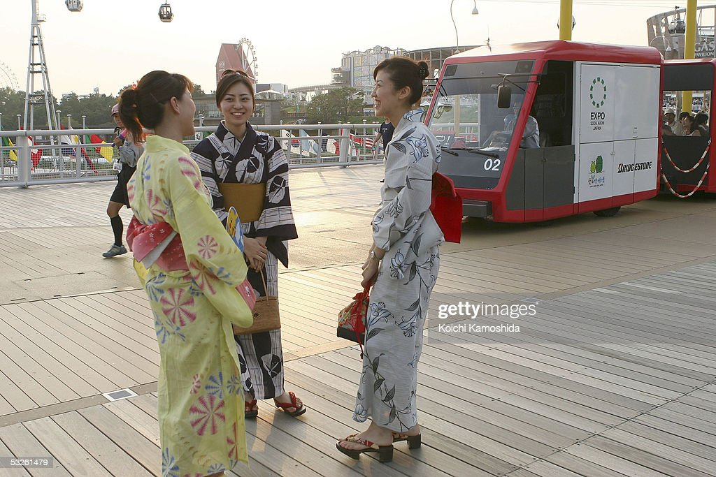 Japanese women in yukata dresses visit the 2005 World Exposition on July 20 2005 in Nagakute Japan The exposition runs from March 25 to September 25