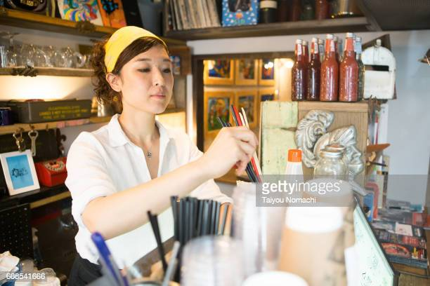 Japanese women working at a cafe