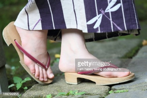 Japanese wooden clogs. : Stock Photo