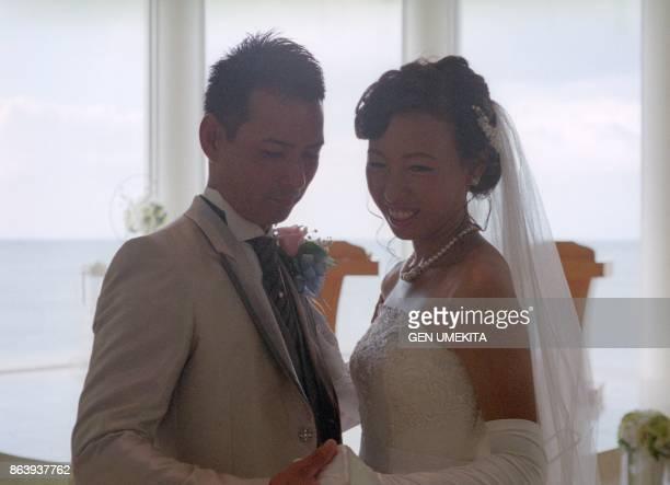 Japanese young couple wedding,okinawa,japan