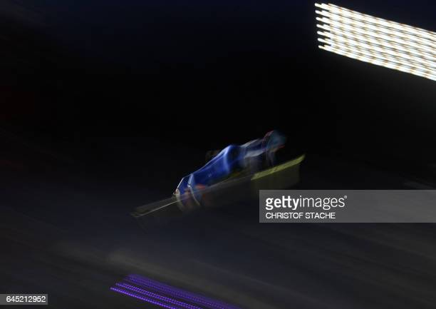 Japanese Yuka Seto soars during her first competition jump of the women's normal hill individual competition of the 2017 FIS Nordic World Ski...