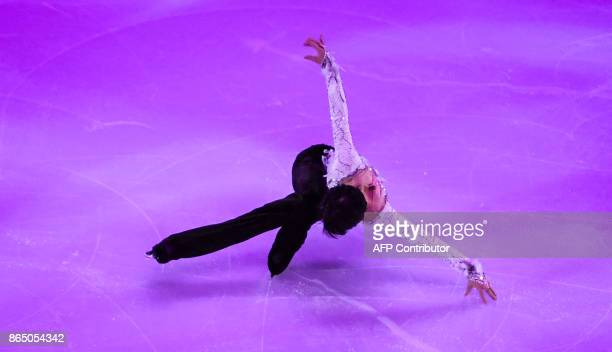 Japanese Yuzuru Hanyu performs during the galaexhibition at the ISU Grand Prix Rostelecom Cup in Moscow on October 22 2017 / AFP PHOTO / Yuri KADOBNOV