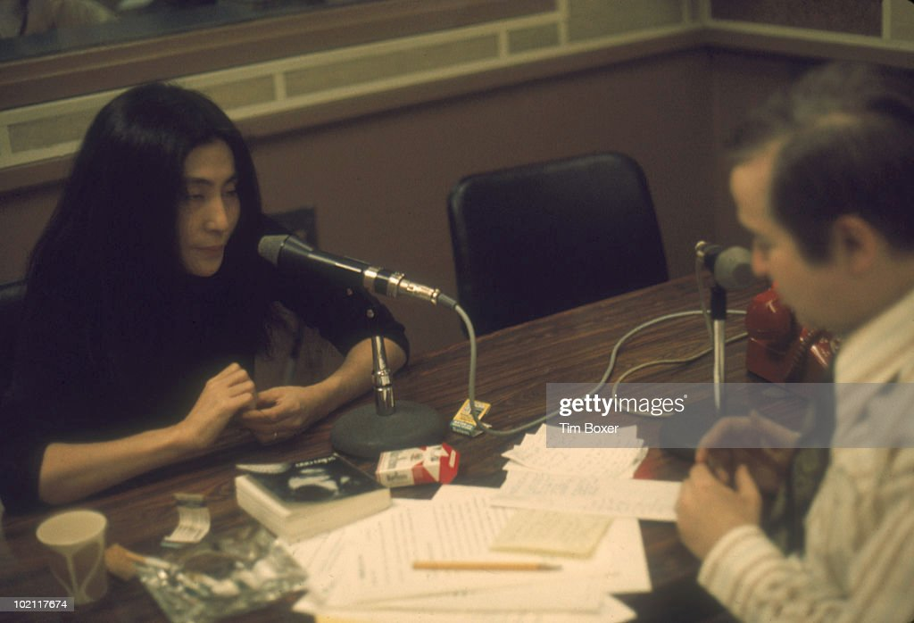 Japanese-born artist and musician Yoko Ono answers questions during an interview with American talk show host Joe Franklin, early 1970s.