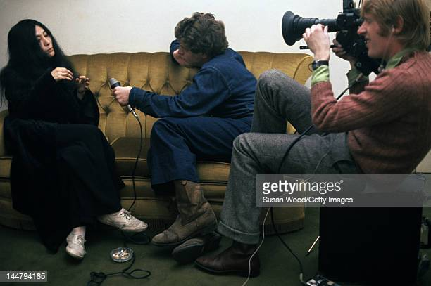 Japaneseborn artist and musician Yoko Ono is filmed as she answers a reporter's questions December 1968