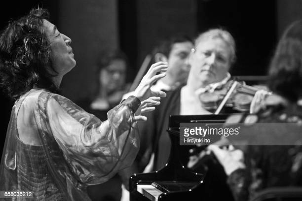 Japaneseborn British musician Mitsuko Uchida plays piano and conducts the Orchestra of St Luke's as they perform 'Piano Concerto No 27 in Bflat...