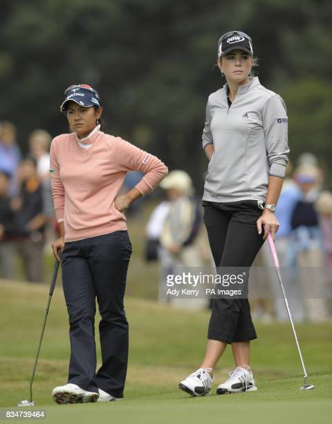 Japan's Ai Miyazato and USA's Paula Creamer on the 15th green during Round Two of the Ricoh Women's British Open at Sunningdale Golf Club Berkshire