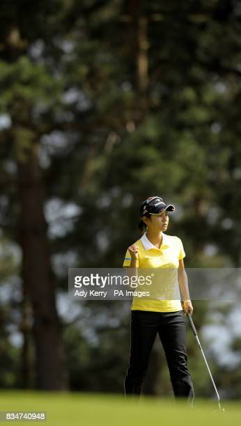 Japan's Ai Miyazato celebrates her putt on the 4th green during Round Three of the Ricoh Womens British Open at Sunningdale Golf Club Berkshire