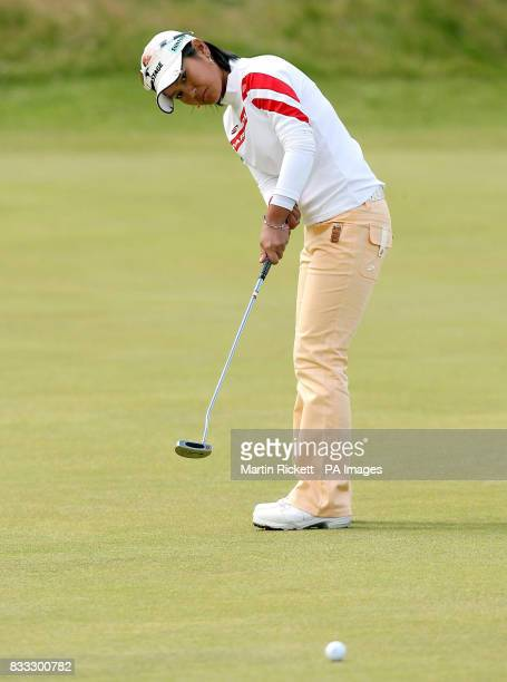 Japan's Ai Miyazato on the 18th green during the Ricoh Women's British Open at The Old Course St Andrews Scotland