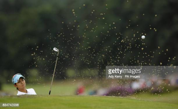 Japan's Ai Miyazato plays from a bunker on the 18th hole during Round Four of the Ricoh Women's British Open at Sunningdale Golf Club Berkshire