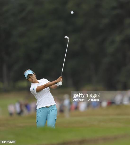 Japan's Ai MIyazato plays her 2nd to the 18th green during Round Four of the Ricoh Women's British Open at Sunningdale Golf Club Berkshire