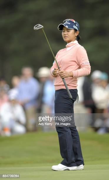 Japan's Ai Miyazato reacts to missing her birdie putt on the 15th green during Round Two of the Ricoh Women's British Open at Sunningdale Golf Club...