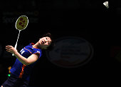 TOPSHOT Japan's Akane Yamaguchi hits a return to China's Sun Yu during their women's singles quarterfinal at the Australian Badminton Open tournament...