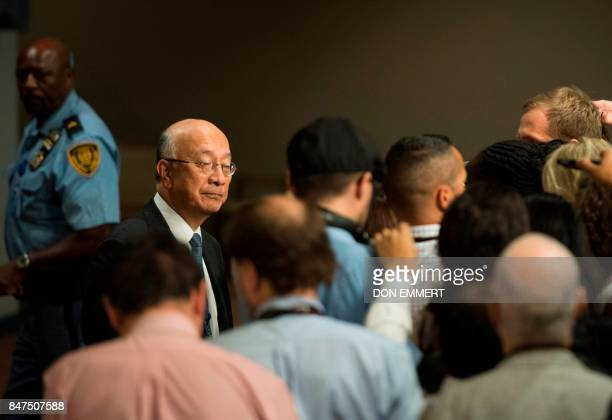 Japan's Ambassador to the United Nations Koro Bessho arrives for a Security Council meeting on North Korea on September 15 at the United Nations in...