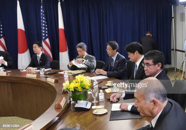 Japan's Ambassador to the US Kenichiro Sasae Japan's Foreign Minister Taro Kono and Defense Minister Itsunori Onodera are seated for the USJapan...