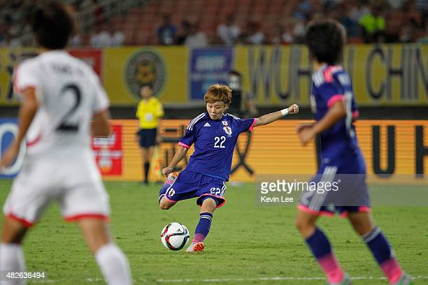 Japan's Ami Sugita in action against DPR Korea during the EAFF Women's East Asian Cup 2015 final round on August 1 2015 in Wuhan China