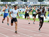Japan's Asuka Cambridge crosses the finish line to win the men's 200 meters at the Night of Athletics in HeusdenZolder Belgium on July 16 2016 The...