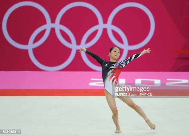 Japan's Asuka Teramoto competes on the floor during the Artistic Gymnastics Women's team final at the North Greenwich Arena London during day four of...