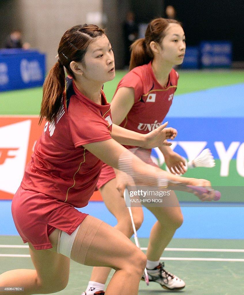 Japan s Ayaka Takahashi L and Misaki Matsutomo R pete