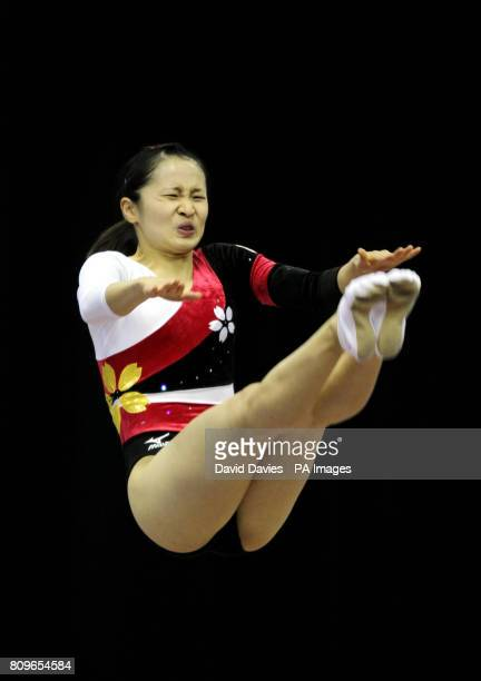Japan's Ayano Kishi during the Trampoline and Tumbling World Championships at the National Indoor Arena Birmingham