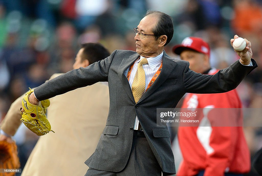 Japan's baseball great Sadaharu Oh throws out the ceremonial first pitch before the start of the World Baseball Classic Semifinals game between Team Puerto Rico and Team Japan at AT&T Park on March 17, 2013 in San Francisco, California. Team Puerto Rico won the game 3-1.
