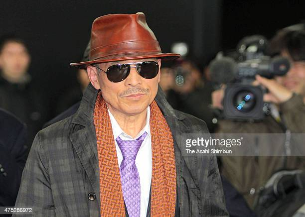 Japan's biggest yakuza syndicate head Kenichi Shinoda aka Shinobu Tsukasa is seen on arrival at Kobe station after being released from jail as he had...