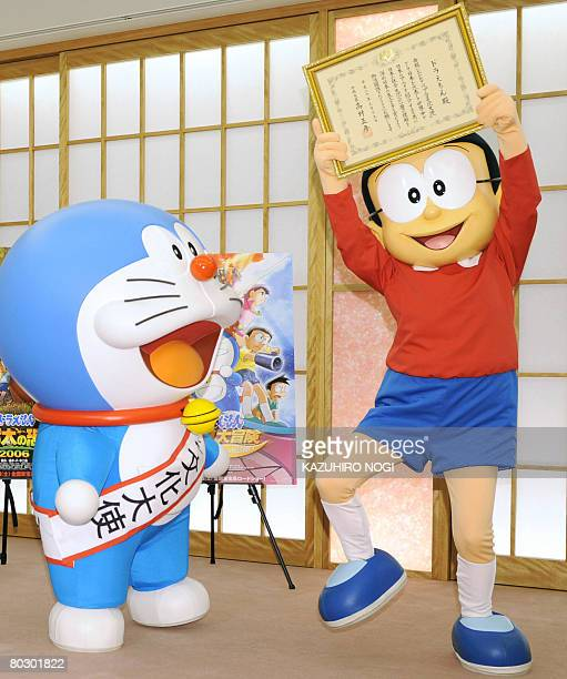 Japan's cartoon character Doraemon who has been appointed as the nation's first Anime Ambassador and his partner Nobita celebarte the appointment...