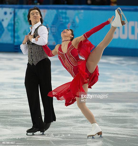 Japan's Cathy Reed and Chris Reed perform during the team pairs ice dance short dance program at the Iceberg Skating Palace at the Winter Olympics in...
