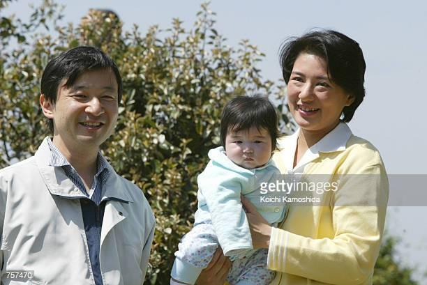 Japan's Crown Prince Naruhito and Crown Princess Masako enjoy their vacation with their daughter Princess Akiko April 6 2002 in Kanagawa Prefecture...