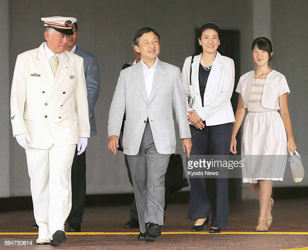 Japan's Crown Prince Naruhito his wife Crown Princess Masako and their daughter Princess Aiko arrive at JR Nasushiobara Station in Tochigi Prefecture...