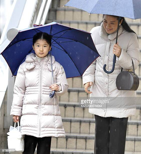 Japan's Crown Princess Masako and her daughter Princess Aiko arrive at Nagano Station Nagano Prefecture in central Japan on March 24 2010 The royal...