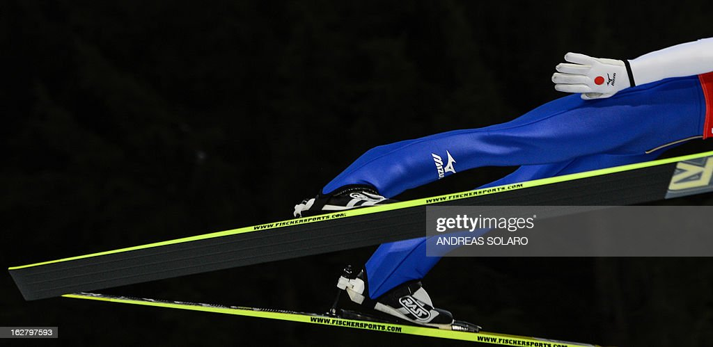 Japan's Daiki Ito soars through the air on February 27, 2013 during the Large Hill Individual qualification race of the FIS Nordic World Ski Championships at the Ski Jumping stadium in Predazzo, northern Italy.