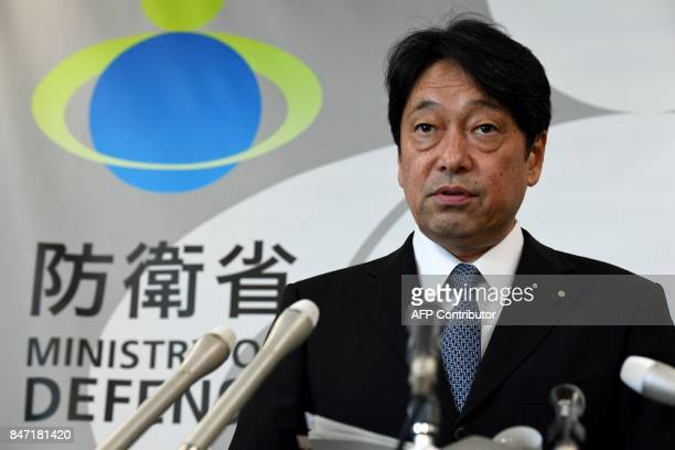 Japan's Defence Minister Itsunori Onodera attends his press conference at the Defence Ministry in Tokyo on September 15 2017 North Korea fired a...