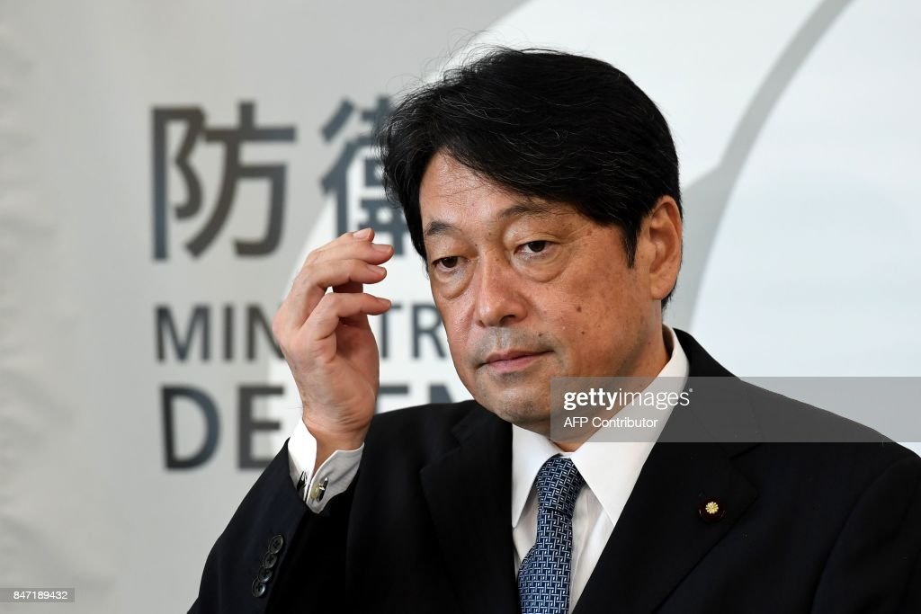 Japan's Defence Minister Itsunori Onodera attends his press conference at the Defence Ministry in Tokyo on September 15, 2017. North Korea fired a ballistic missile over Japan and into the Pacific on September 15, responding to new UN sanctions with what appeared to be its furthest-ever missile flight amid high tensions over its weapons programmes. / AFP PHOTO / Toshifumi KITAMURA