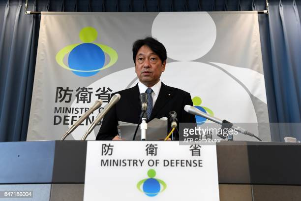 Japan's Defence Minister Itsunori Onodera speaks during his press conference at the Defence Ministry in Tokyo on September 15 2017 North Korea fired...