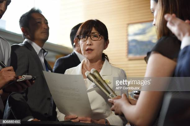 Japan's Defence Minister Tomomi Inada speaks to the media at the prime minister's official residence in Tokyo on July 4 after a ballistic missile was...