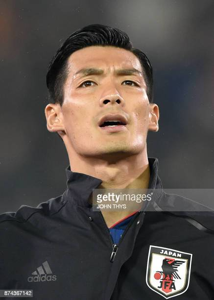 Japan's defender Tomoaki Makino is pictured ahead of the friendly football match between Belgium and Japan at the Jan Breydel Stadium on November 14...