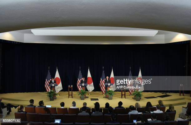 Japan's Defense Minister Itsunori Onodera and Foreign Minister Taro Kono along with US Secretary of State Rex Tillerson and Defense Secretary James...
