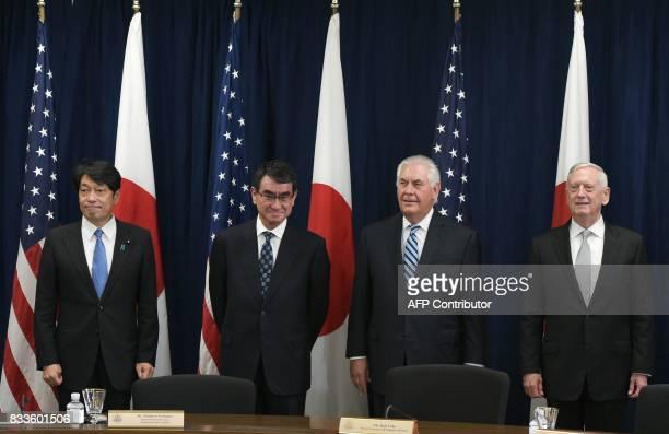 Japan's Defense Minister Itsunori Onodera Foreign Minister Taro Kono US Secretary of State Rex Tillerson and Defense Secretary James Mattis pose for...