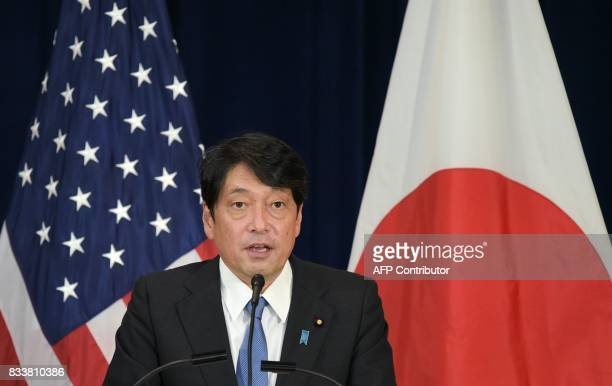 Japan's Defense Minister Itsunori Onodera speaks during a joint press conference with US Secretary of State Rex Tillerson and Defense Secretary James...