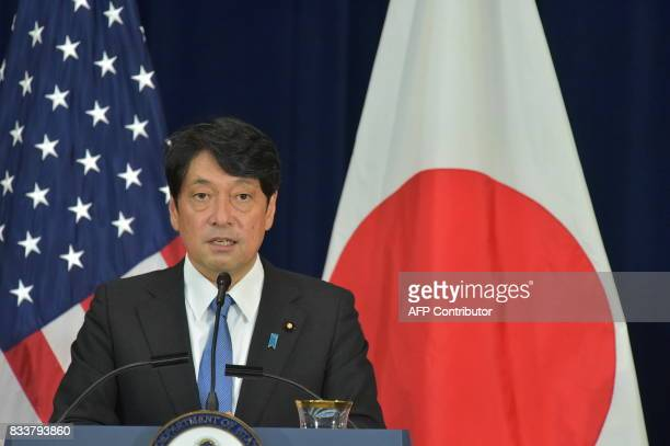 Japan's Defense Minister Itsunori Onodera takes part in a joint press conference with Japan's Foreign Minister Taro Kono US Secretary of State Rex...